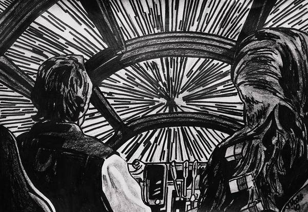 Han Solo Chewbacca Harrison Ford Star Wars Millenium Falcon Hyperspace Stars Spaceship Wookie Scifi Movie Actor Celebrity Poster featuring the drawing Punch It by Jeremy Moore