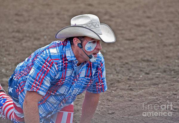 4th Of July Poster featuring the photograph Rodeo Clown Cowboy In Dust by Valerie Garner