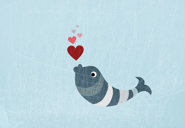 Horizontal Poster featuring the digital art A Fish Blowing Love Heart Bubbles by Jutta Kuss