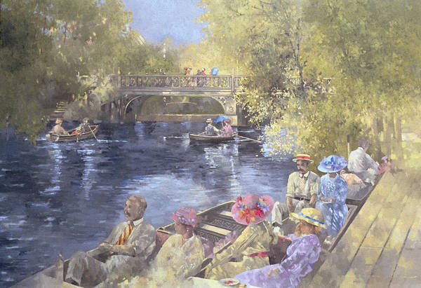 Summer; Pleasure Cruise; Rowing Boat; Punt; Bridge; River; Edwardian Costume; Southport; Botanic; Botanical; Botanic Gardens; Costumes; Rowing Boats; Boats; Women; Men; Dress; Dresses; Suit; Suits; Hat; Hats; Water; Tree; Trees; Rowing Poster featuring the painting Botanic Gardens - Southport by Peter Miller