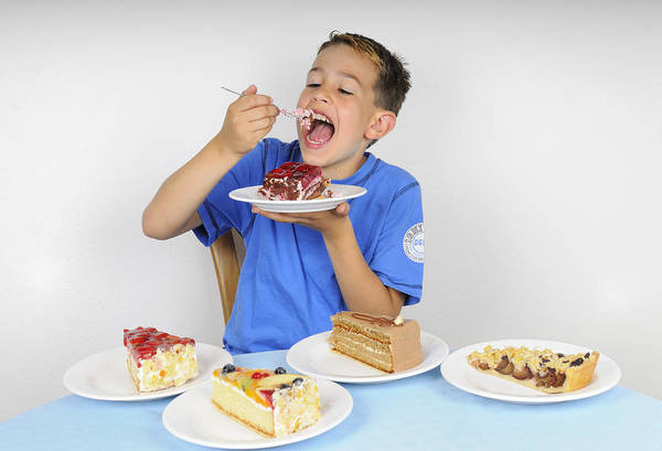 Cake Poster featuring the photograph Hungry Boy Eating Lot Of Cake by Matthias Hauser