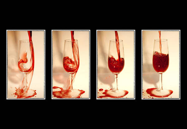 Abstract Poster featuring the photograph Pouring Red Wine by Svetlana Sewell