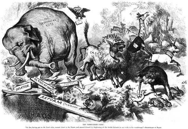1874 Poster featuring the photograph Republican Elephant, 1874 by Granger