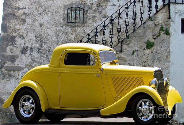 This Beautiful Yellow Hardtop Coupe From The Early 1930's Poster featuring the mixed media Yellow Coupe Hardtop by Jerry L Barrett