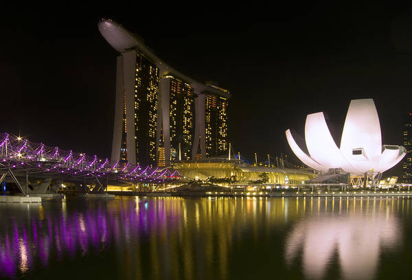 Singapore Poster featuring the photograph Marina Bay Sands Hotel And Artscience Museum In Singapore by Zoe Ferrie