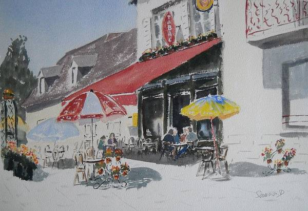La Terrasse D\'un Cafe Poster featuring the painting A L'ombre D'une Terrasse D'un Cafe Shadow Of An Outdoor Pub by Dominique Serusier