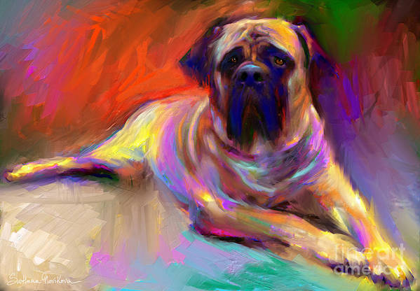 Bull Mastiff Painting Poster featuring the painting Bullmastiff Dog Painting by Svetlana Novikova