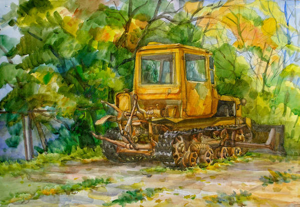 Caterpillar Poster featuring the painting Caterpillar On Backyard by Natoly Art