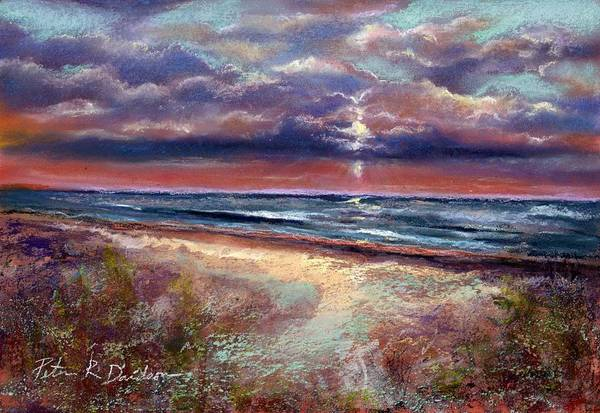 Pastel Poster featuring the pastel Early September Beach by Peter R Davidson