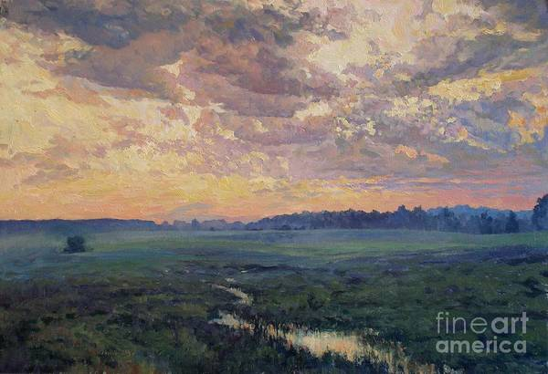 Summer Evening Poster featuring the painting Evening Meadow by Andrey Soldatenko