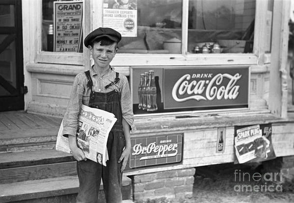 1938 Poster featuring the photograph Georgia: Newsboy, 1938 by Granger