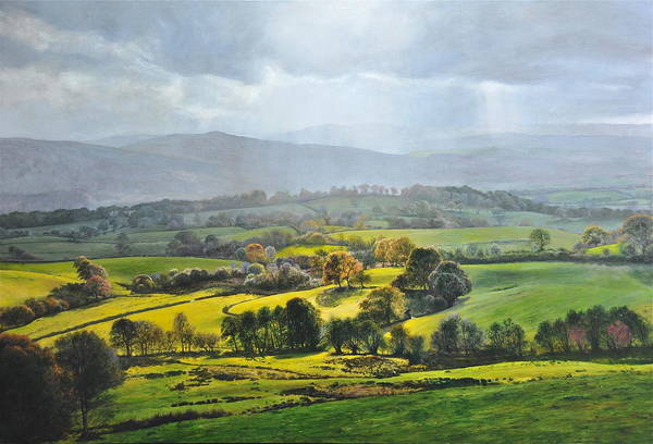 Wales Poster featuring the painting Light In The Valley At Rhug. by Harry Robertson