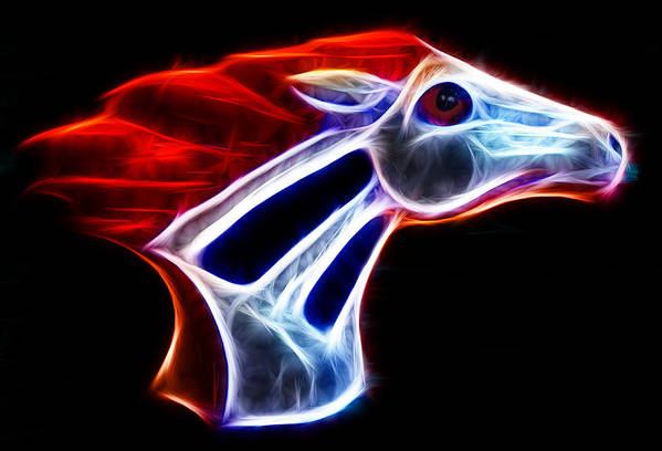 Bronco Poster featuring the photograph Neon Bronco by Shane Bechler
