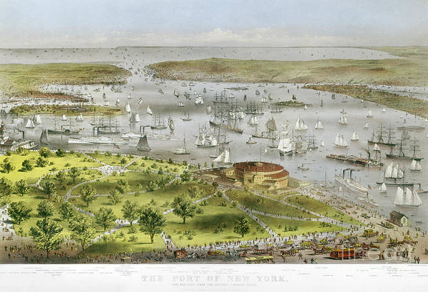 1872 Poster featuring the photograph New York Harbor, 1872 by Granger