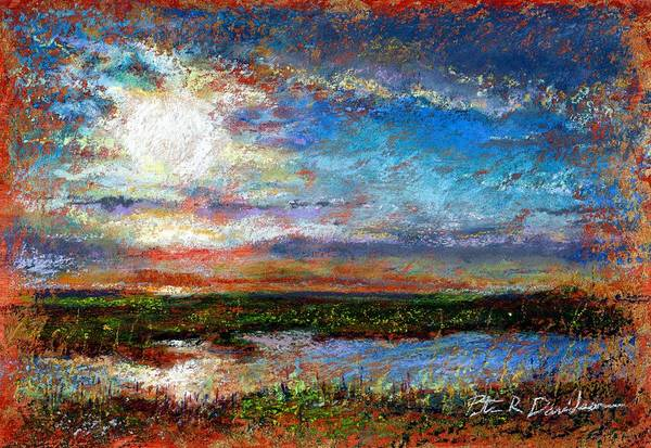 Pastel Poster featuring the pastel Over The Marsh by Peter R Davidson