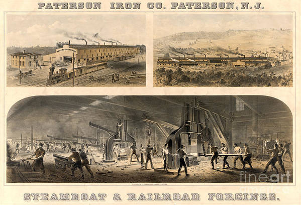 19th Century Poster featuring the photograph Paterson Iron Company by Granger