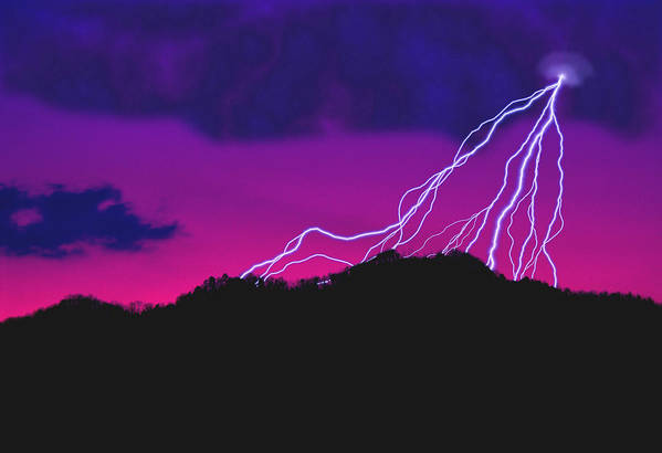 Lightning; Weather; Power; Electricity; Sky; Mountain; Landscape; Scenic; Night; Evening; God; Divine; Divine Power; Nature; Powerful Nature Poster featuring the photograph Sky Power by Gerard Fritz