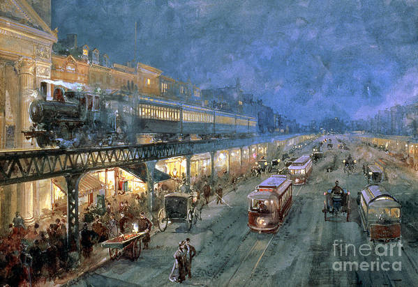 The Bowery At Night Poster featuring the painting The Bowery At Night by William Sonntag