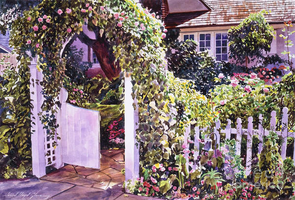 Watercolor Gardens Poster featuring the painting Welcome Rose Covered Gate by David Lloyd Glover