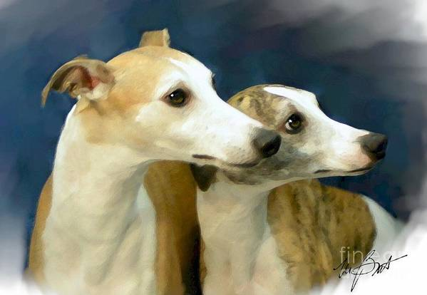 Dog Poster featuring the digital art Whippet Watching by Maxine Bochnia