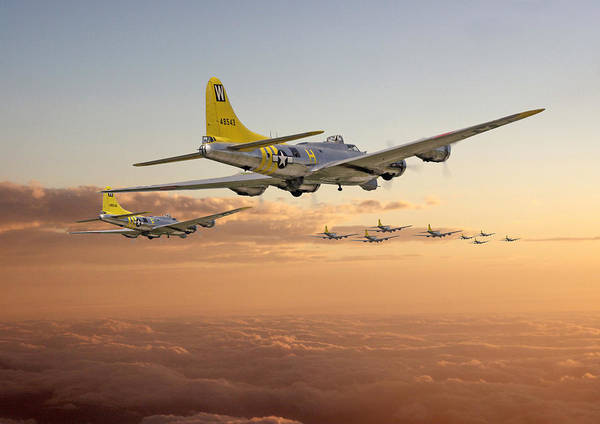 Aircraft Poster featuring the photograph B17 - 486th Bg - Homeward by Pat Speirs
