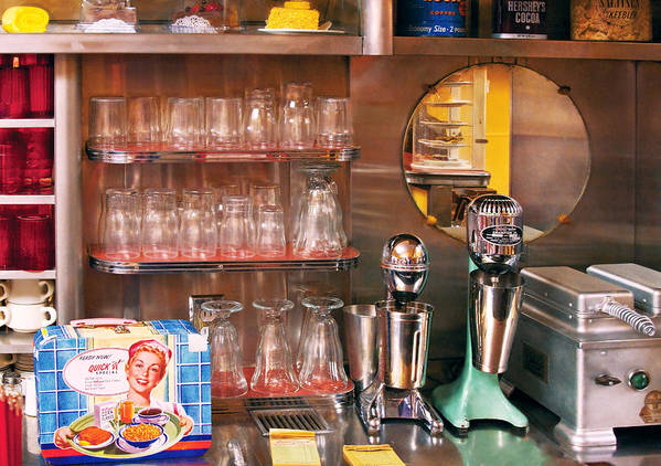 American Diner Poster featuring the photograph 1950's - Diner - A 1950's Diner by Mike Savad