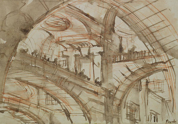 Gaol; Jail; Carceri D'invenzione; Fictive; Fantastic; Vaulted; Interior Poster featuring the drawing Drawing Of An Imaginary Prison by Giovanni Battista Piranesi