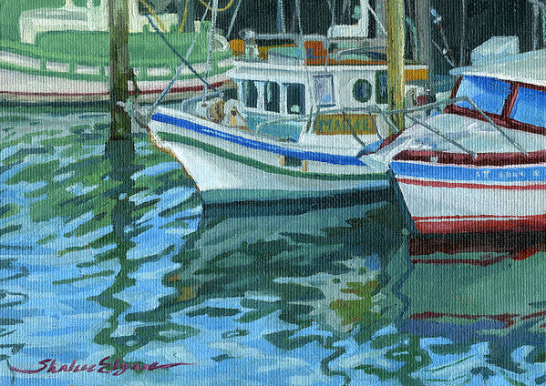 Boats Poster featuring the painting Alaskan Boats In Rippling Water by Shalece Elynne