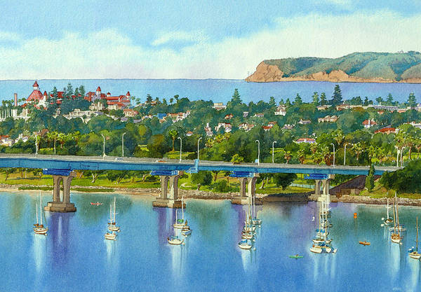 California Poster featuring the painting Coronado Island California by Mary Helmreich