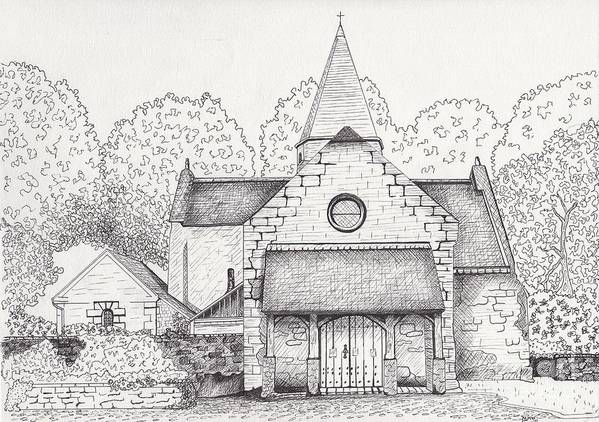 Architectural Art Poster featuring the drawing French Church by Michelle Welles