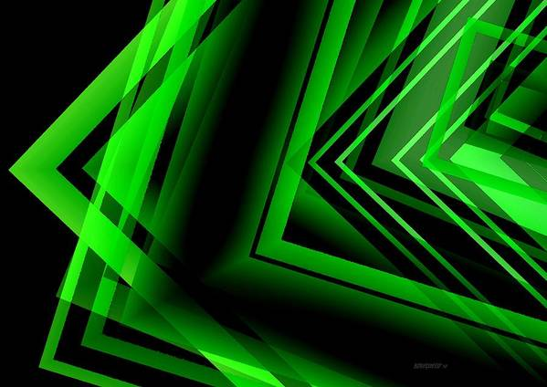 Green Poster featuring the digital art Green Abstract Geometric by Mario Perez