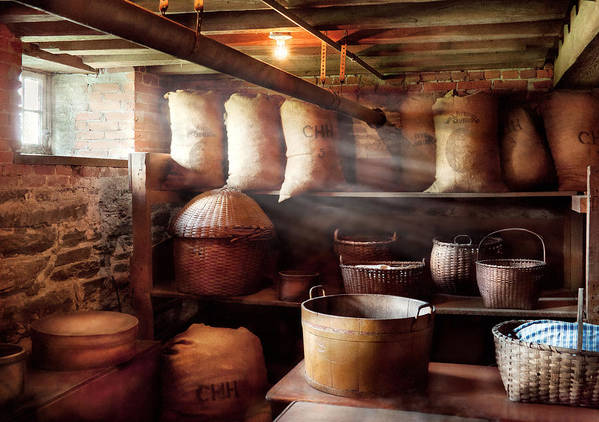Self Poster featuring the photograph Kitchen - Storage - The Grain Cellar by Mike Savad