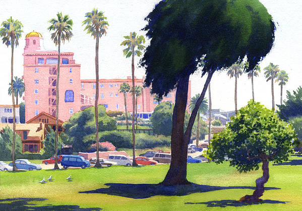 La Valencia Poster featuring the painting La Valencia Hotel And Cypress by Mary Helmreich