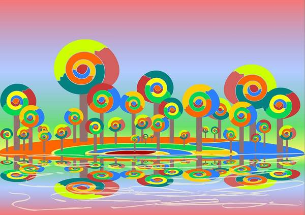 Malakhova Poster featuring the digital art Lollypop Island by Anastasiya Malakhova