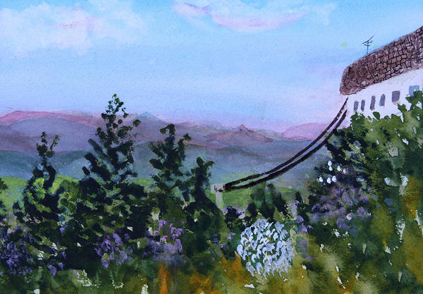 Mountain Poster featuring the painting Looking Out From Top Of Jay Peak by Donna Walsh