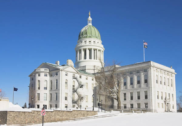Maine Poster featuring the photograph Maine State Capitol Building In Winter Augusta by Keith Webber Jr