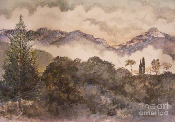 Chinese Brush Painting Poster featuring the painting Morning Mist Pasadena by Nancy Kane Chapman