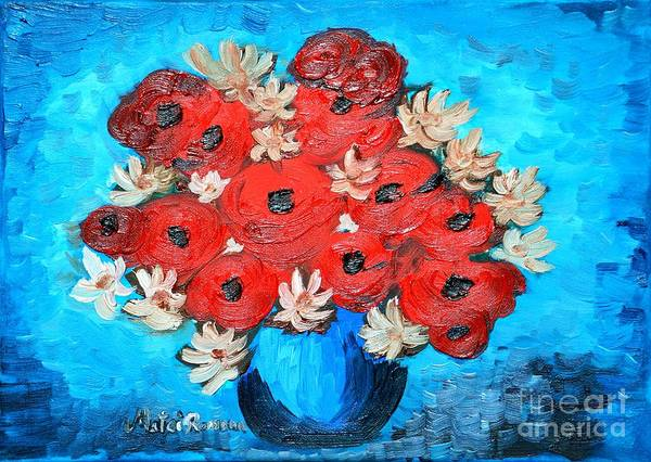 Poppies Poster featuring the painting Red Poppies And White Daisies by Ramona Matei