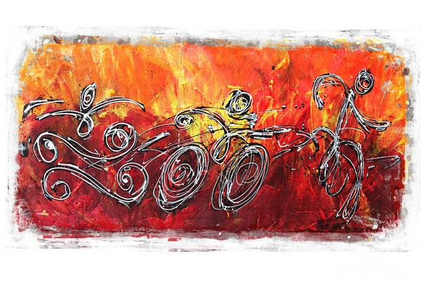 Triathlon Poster featuring the painting Red Splash Triathlon by Alejandro Maldonado
