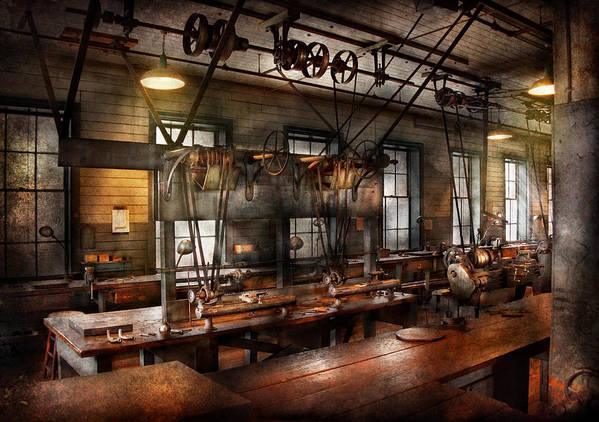 Hdr Poster featuring the photograph Steampunk - The Workshop by Mike Savad