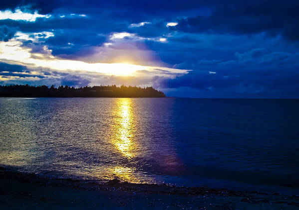 British Columbia Poster featuring the photograph Sunset At Parksville Beach by Christi Kraft