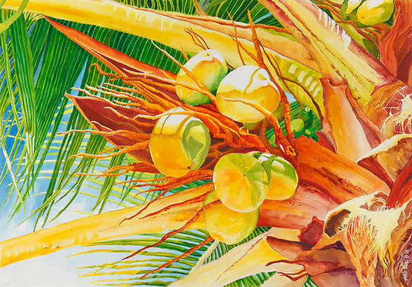 Palm Poster featuring the painting Under The Coconut Palm by Janis Grau