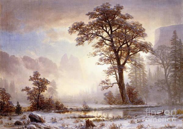 Albert Bierstadt Poster featuring the painting Valley Of The Yosemite Snow Fall by Albert Bierstadt
