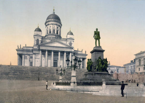 Helsinki Poster featuring the photograph Alexander II Memorial At Senate Square In Helsinki Finland by International Images