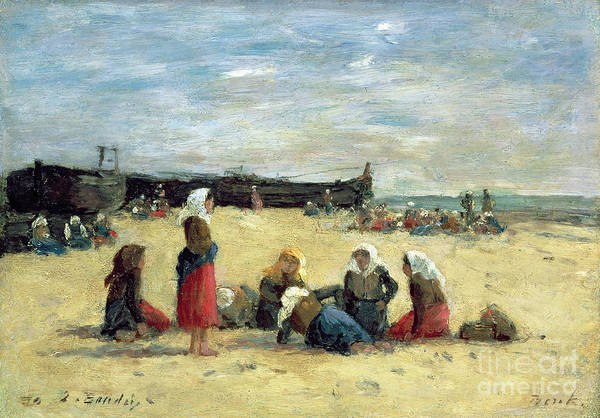 Berck Poster featuring the painting Berck - Fisherwomen On The Beach by Eugene Louis Boudin