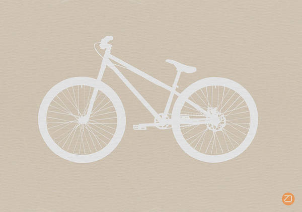 Poster featuring the drawing Bicycle Brown Poster by Naxart Studio