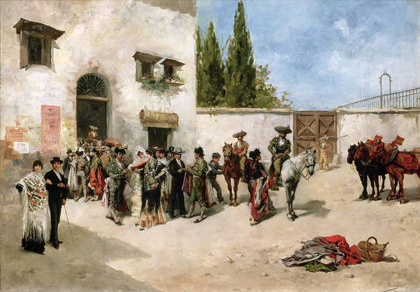 Bullfighters Preparing For The Fight Poster featuring the painting Bullfighters Preparing For The Fight by Vicente de Parades