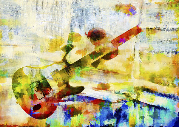 Guitar Poster featuring the digital art Colorful Music by David Ridley