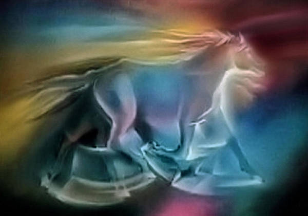 Wild Horse Poster featuring the pastel Equus Caballuscomp 1984 by Glenn Bautista