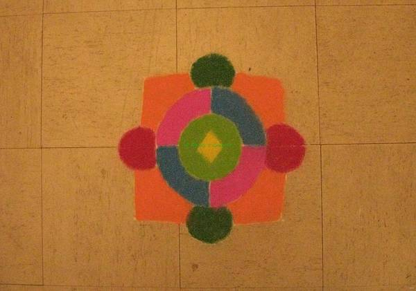 Mandal Infused Within Square Poster featuring the painting Mandal Rangoli by Sonali Gangane
